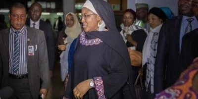AISHA RETURNS TO LONDON THREE DAYS AFTER ARRIVAL
